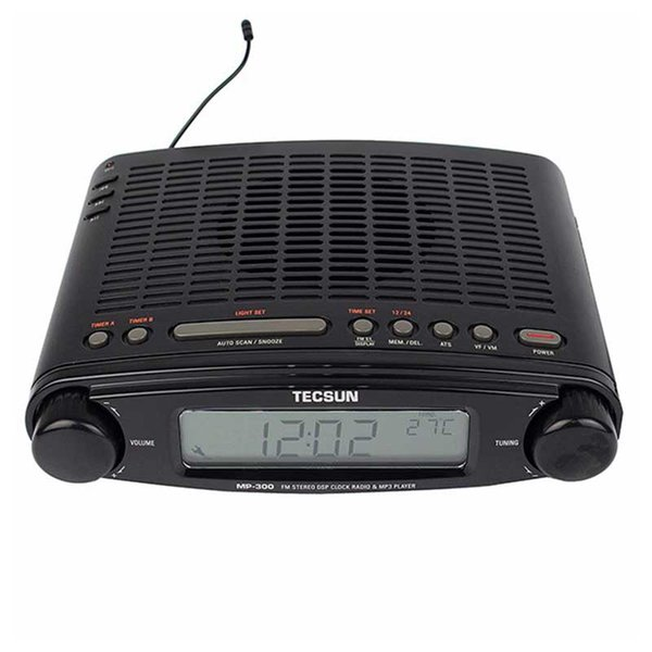 Al por mayor-Original TECSUN MP-300 FM Radio estéreo DSP Radio USB Reproductor de MP3 Reloj de Escritorio ATS Alarma Receptor de Radio Portátil LED DIsplay