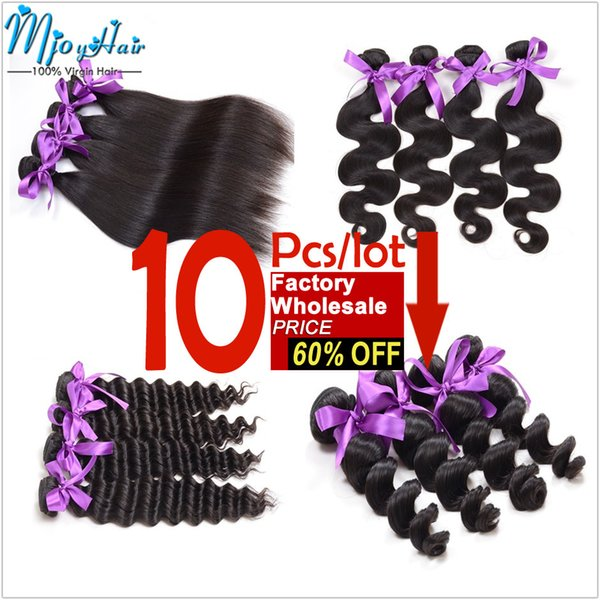 Chinese Human Braiding Straight/Body/Loose/Deep Wave Hair Weaves 10Pcs/Lot Wholesale Price Hair Extensions,12-28 Inch Human Hair Wefts