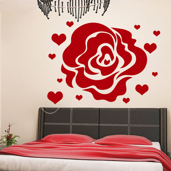 Flower Rose Hearts Wall Decals Home Decor Love Flowering Blossom Vinyl Wall Art Stickers for Rooms Decoration