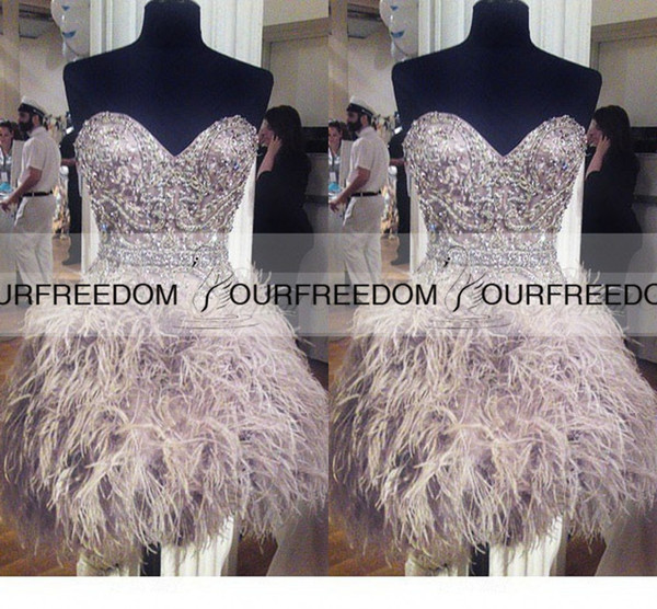 Lovely Sweetheart With Crystal Beaded Cocktail Dresses Heavy Feather Short Mini Formal Occasion Party Gowns Custom Made Vestido De Nova