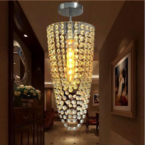 LED 1 luz de Chrome Modern K9 araña de cristal de iluminación D17 * H45cm AC110V-256V color transparente