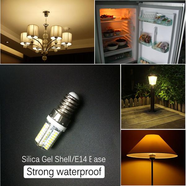 64 UNIDS LED Bead Waterproof E14 E17 Base SMD 3014 3W Silicon Corn LED Crystal Light Corn Bulb Chandelier Cálido Color Blanco Puro