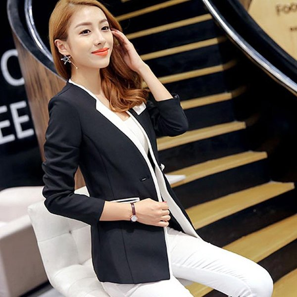 2017 Women Spring Autumn Formal Blazer Elegant Tunic Slim Wear to Work Office Business Outwear High Quality White/Black