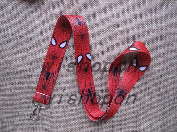 Free Shipping 10 pcs Cartoon Super Hero Spiderman key Chain Neck Strap Keys Camera ID Card Lanyard Mobile Phone Neck Straps D--72