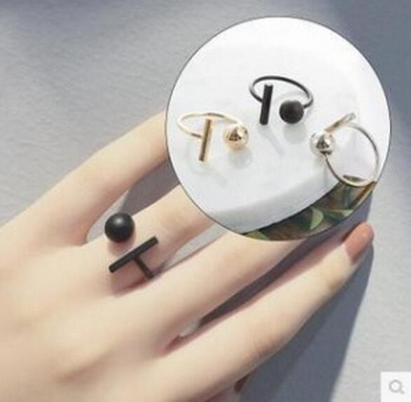top popular Simple and minimalist ball round Square bar with gold and silver black personality open ring wholesale free shipping 2019