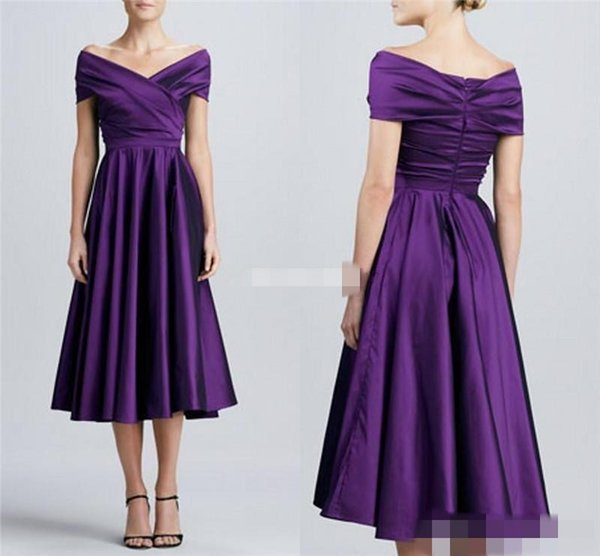 Purple Tea Length Mother of the Bride Dresses with Short Sleeves Off Shoulder Plus Size Long Women Formal Party Dresses For Wedding