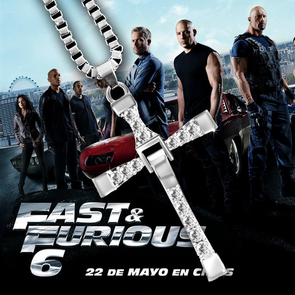 HOT The Fast and Furious Crystal Cross Uomo Collane Pendenti Placcato argento Maxi Steampunk collares Vintage Statement Necklace