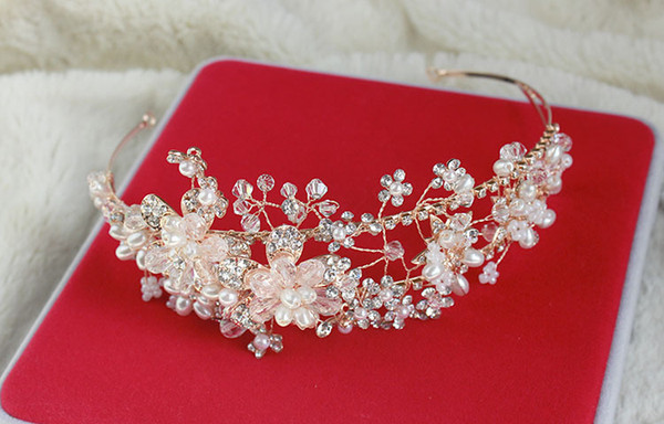 Gorgeous diamond-studded Crystal bead flower headband High quality Rhinestone Jewels hairband Bling Wedding bridal Hair Accessories