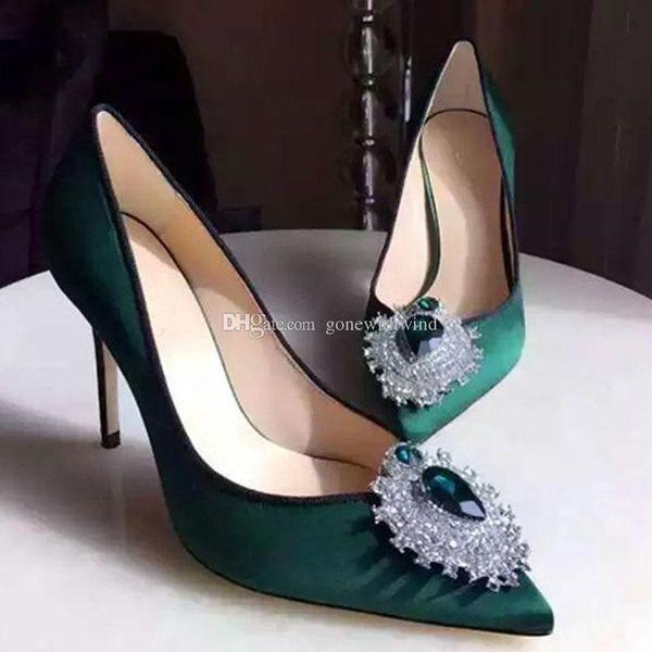 Green Pumps Heels Women Wedding Shoes 2017 Silk Bridal For Heel Comfortable Evening