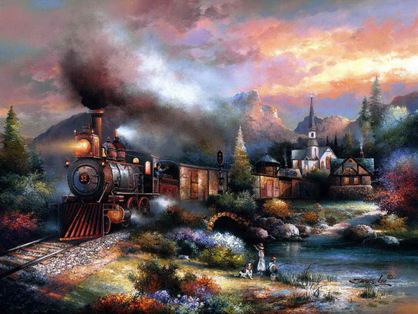 Thomas Kinkade Oil Painting HD Art Print On Canvas The House And Train About Beautiful