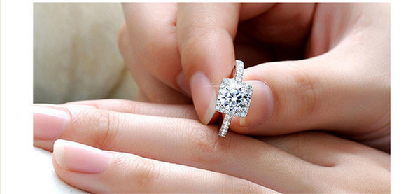 best selling Silver Plated Wedding Rings For Women Square Simulated Diamond Jewelry Bague Fashion Femme Engagement ring Accessories