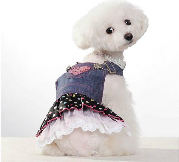 5pc/lot Hot Sale New arrival spring summer pet dog clothes Pet Outerwears Jean dress,Pet Skirt XS-XL