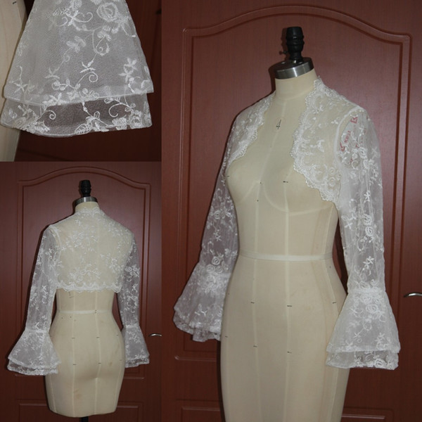 Fabulous Custom Made Long Sleeve Lace Bolero Jacket Wedding Party Accessories Lace Appliques Flare Sleeves Wrap Real Image