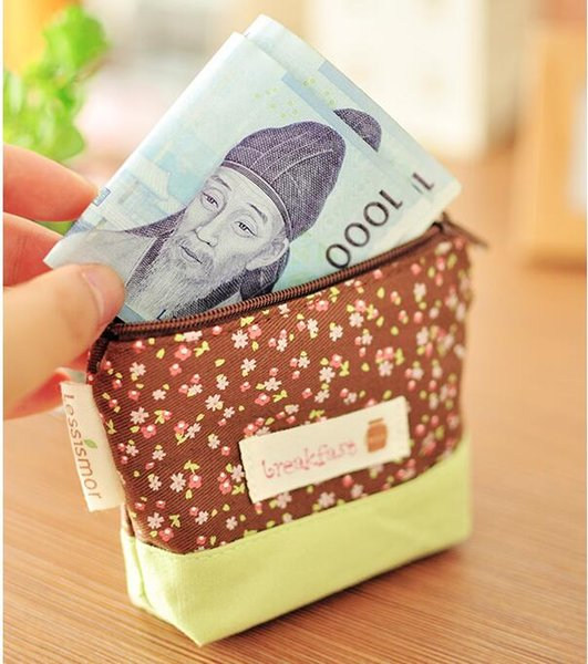 New Flowers Coin Purse Little Key Car Pouch Money Bag for Girls Mini Short Coin Wallet DHL free ship