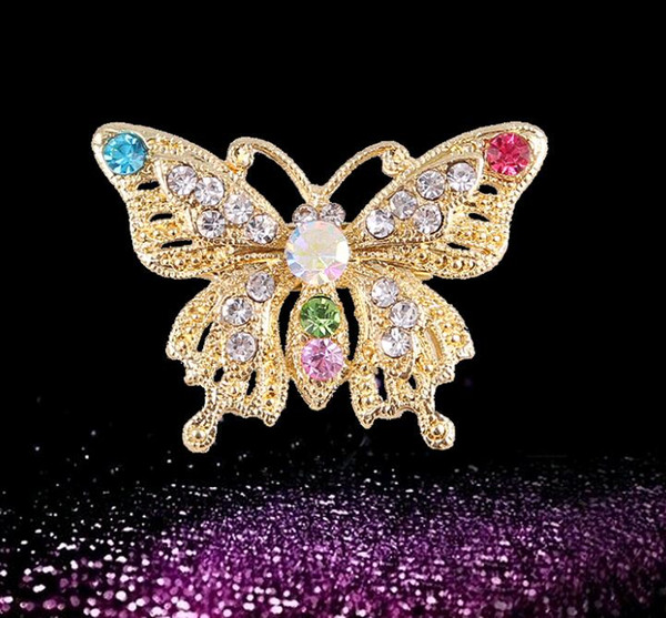 Fashion Trends Cute Korean Colorful Crystal Mini Butterfly Pin Brooch for Women Accessories Free Shipping Collar Buckle Wholesale