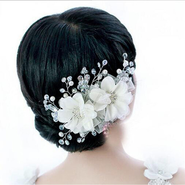 bridal crystals pearls flower zinc alloy headdress hair jewelry for wedding party white/red vintage head jewelry wedding hair accessories