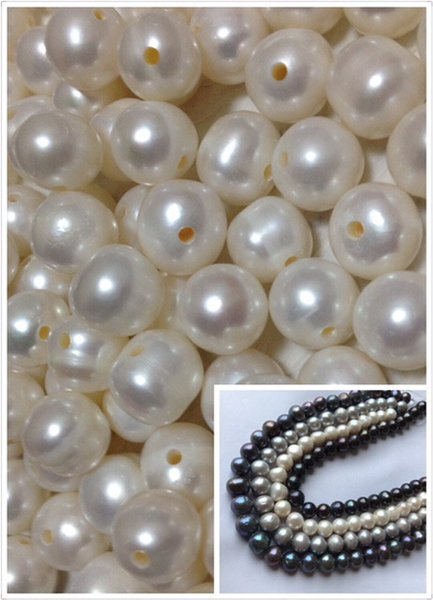 12-14mm Genuine Freshwater Pearls Loose Beads Large Hole Spacer Beads Tahitian Black Real Round Pearl 2MM Big hole charms For Jewelry DIY