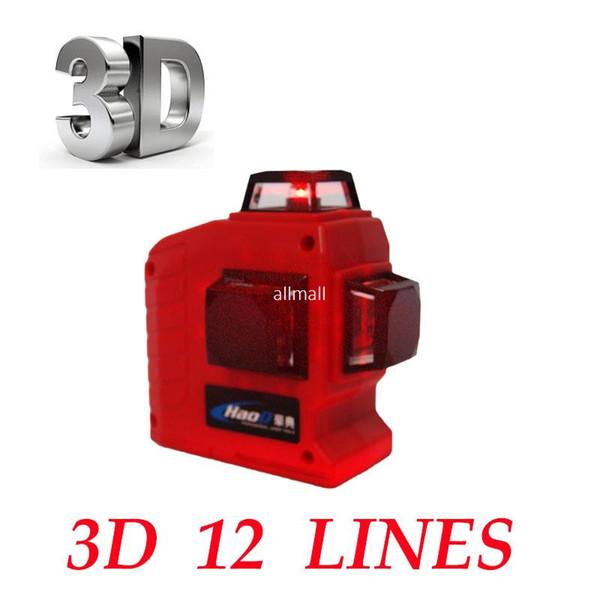 Freeshipping Professional 12 Line 3D laser level 360 Vertical And Horizontal Laser Level Self-leveling Cross Line 3D Laser Level