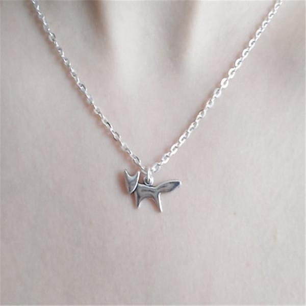 Großhandel - Silber Fuchs Halskette handgemachte Halskette Fuchs Schmuck Fuchs Charm Halskette Modeschmuck Silber Charm Halslos