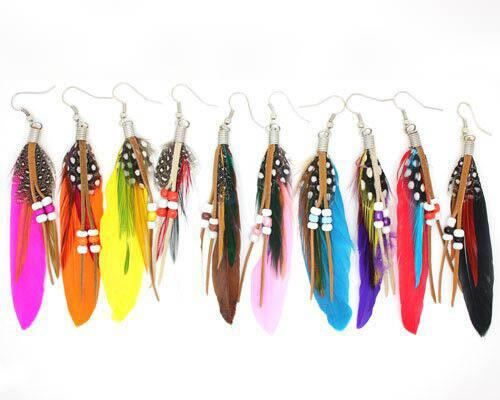 High Quality Bohemia Fashion Beads Feather Earrings for Women Party Wedding Earrings Wholesale