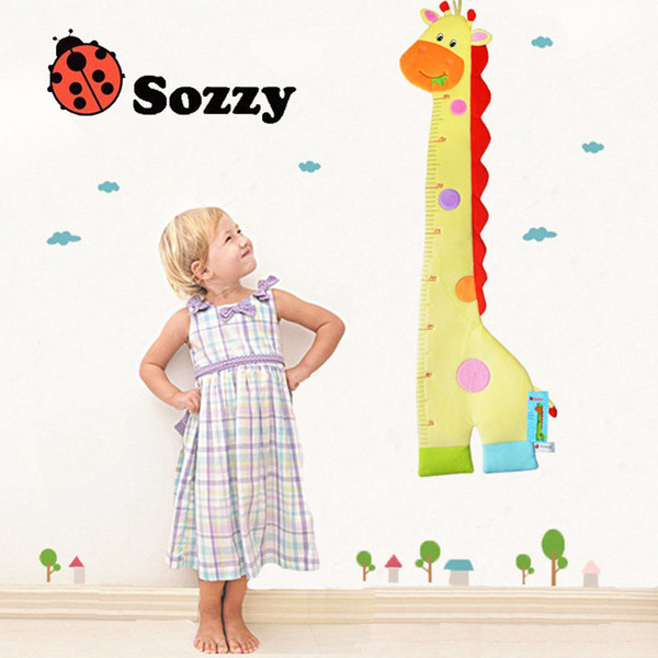 Wholesale- Sozzy 2016 New Baby Toys Animal Height Measure Child Cartoon Height Ruler Pacify Push Mobile Musical Toys