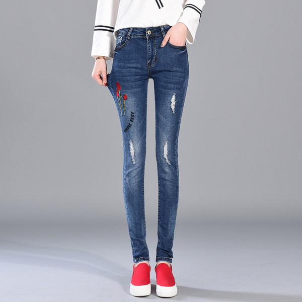 best selling Korean Version Jeans Of The New Spring Rose Embroidery Girls Feet Jeans Waist Elastic Long Pants Are All-match Hole Pants Hot Sale