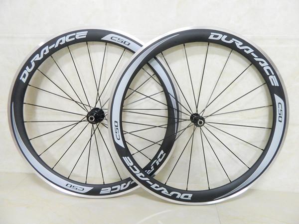 grey decal Carbon wheels aluminum brake bicycle wheelset carbon fiber road bike wheel clincher 50mm depth with Novatec A291 hub