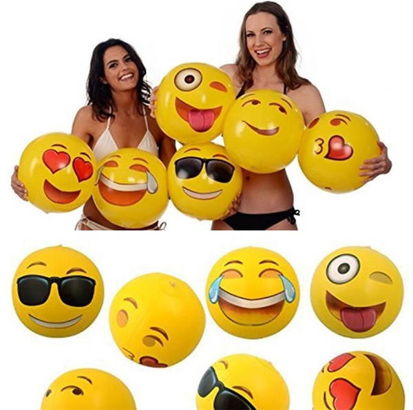 Newest Emoji PVC Inflatable Beach Balls Inflatable Ball Pool Outdoor Play Beach Toys free shipping GC23