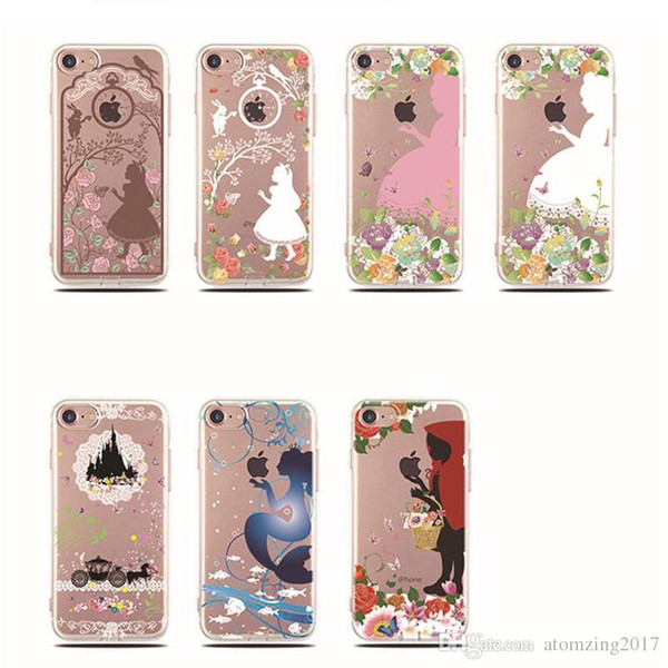 Cute Cartoon phone Case For iphone 7 case Alice White Snow Pricess Soft TPU shell For iPhone 5S 6 6S Plus back cover