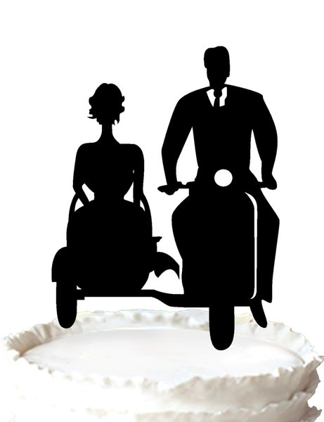 Wedding Cake Topper,Bride and groom with Motorbike acrylic cake toppers,37 color for option Free Shipping