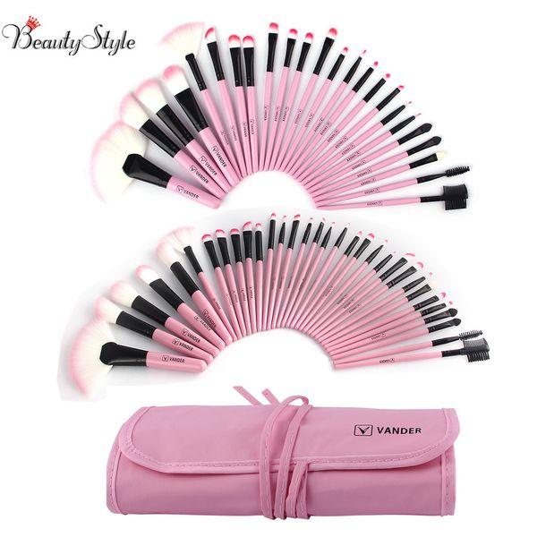 Vander Professional 24 32pcs Pink Makeup Brush Brushes Set Kit Tools Pinceis Cosmetic Eyeliner Lip Foundation Powder Soft W /Bag