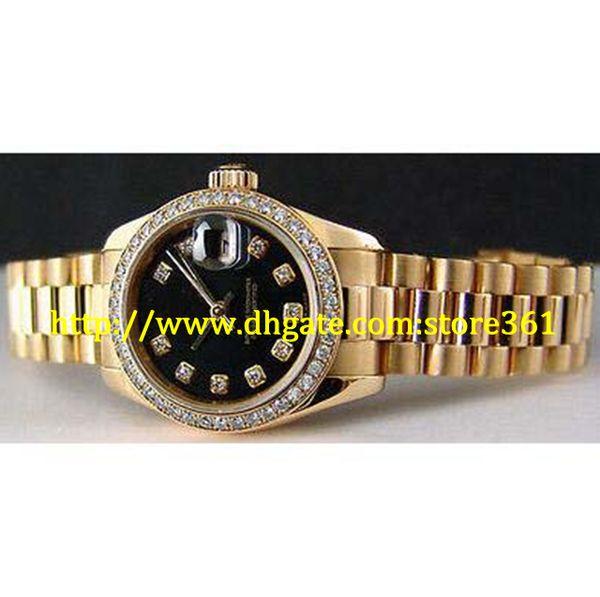 store361 new arrive Mesdames Or 18 carats DIAMOND President Black Diamond Dial -179138