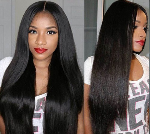 8A 100% Virgin Unprocessed Human Hair Lace Wigs for Black Women Lace Front Wigs Middle Part Silky Straight Natural Color Straight Glueless