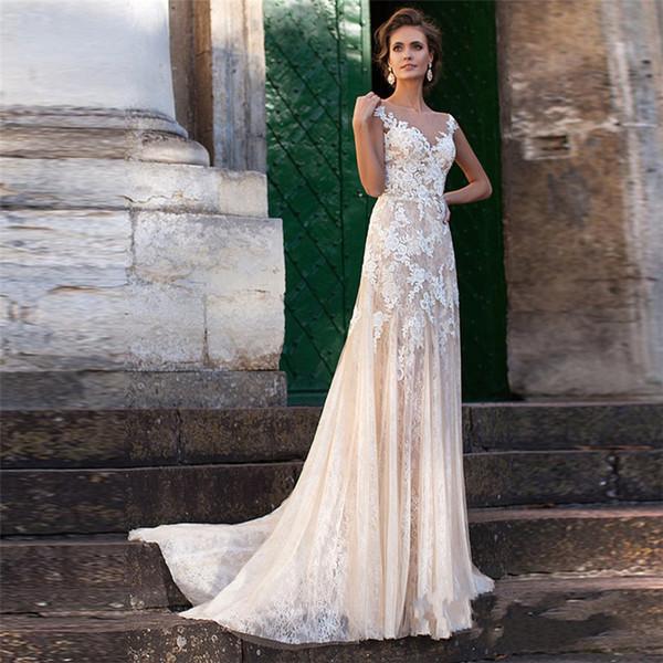top popular Lace Wedding Dress 2019 Illusion Neckline Appliques Vintage Bridal Gowns Robe De Mariage Sheath Wedding Dresses Sheer Back Vestido 2019