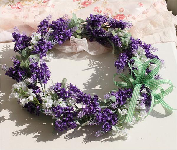 "35cm(14"") Lavender Door Wreath Wedding Dried Silk Flower Lavender Wreath Hanging New Doors Decorated Floral Head Wreath"