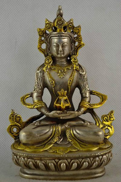 christmas decorations for home+ Asian Antiques China Old Collectible Handwork Miao Silver Plating Gold Carving Buddha Statue