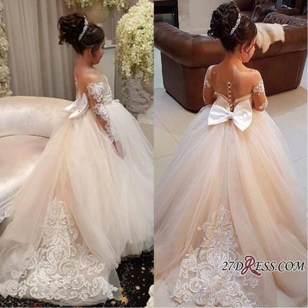 2018 New Design Tulle Little Flower Girls Dresses Court Train Long Illusion Sleeves First Communion Dress Girl Pageant Custom Made BA7399