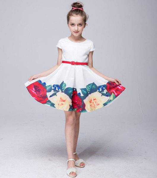Princess Dress One-piece Floral Cap Sleeve Waistband Kids Skirts Fashion Party Dress Performance Cloth 2-8 Years LG-909