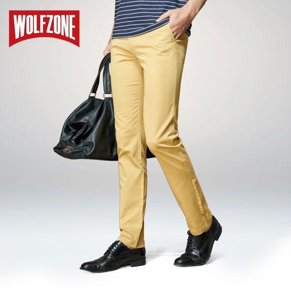 Wholesale- Hot Sale Brand Casual Men Pants Classic Fashion Slim Fit Dress Flat Suit Mens Trousers Formal Business Cotton Clothing for Male