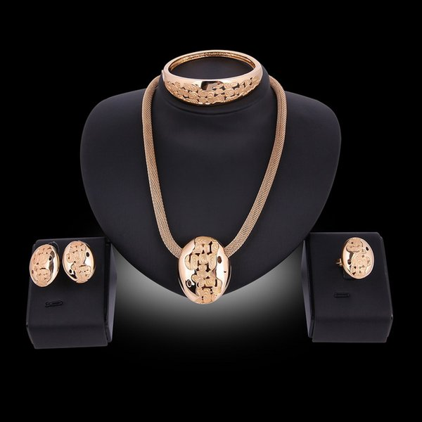 Afrikanische Kostüm Runde Halskette Ohrringe Armreif Ringe Set Party Fashion Frauen 18 Karat Vergoldet Dubai Schmuck Sets