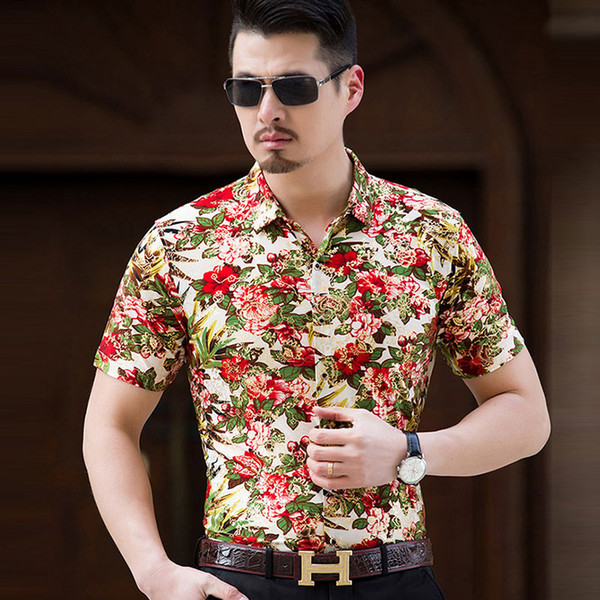 2017 Floral Print Shirt Men Short Sleeve Mens Shirts Casual Good ...
