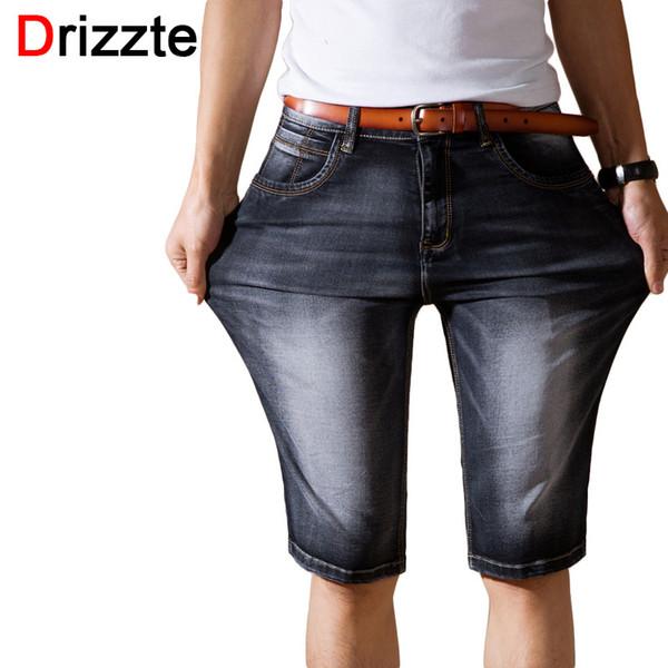 Wholesale- Drizzte Brand Mens Lightweight Denim Jeans Shorts Plus Size Jeans Short for Men Pants Summer 34 35 36 38 40 42