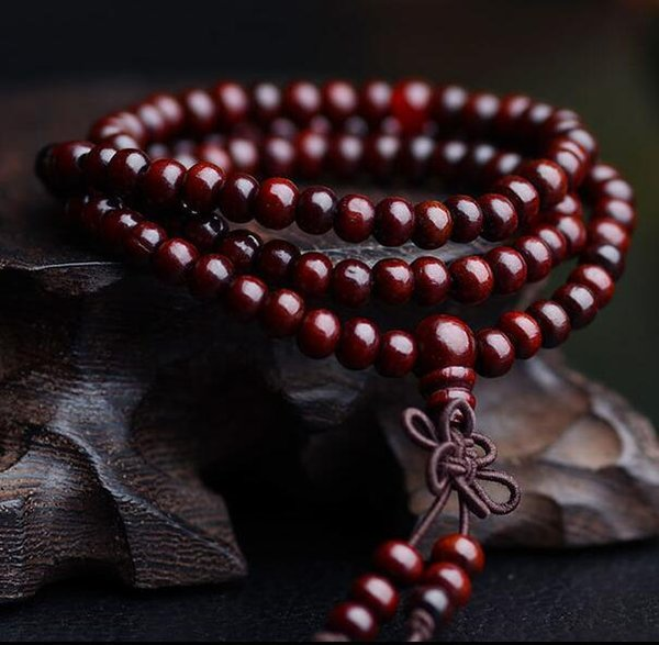 108 beads 6m Sandalwood Buddha Bead Buddhist Pray band Stretchy Asian Buddhist Buddha Sandalwood bracelet for girl boy