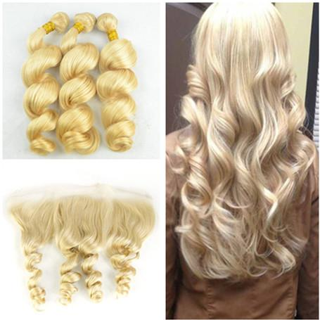 #613 Blonde Loose Wave Wavy Peruvian Human Hair 3 Bundles With Frontal Free Middle 3 Way Part 13x4 Lace Frontal Closure With Weaves