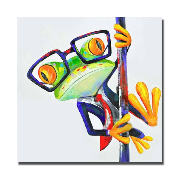 Free shipping funny decorative design cartoon pictures of frogs oil painting canvas wall pictures for bedroom