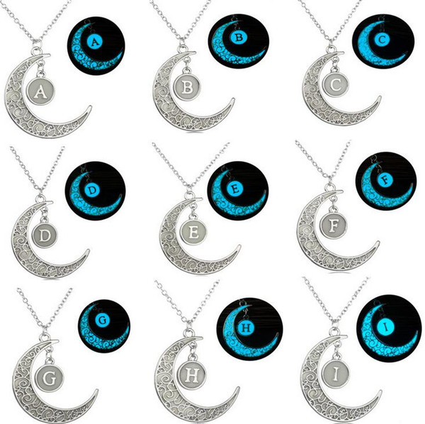 Best gift 26 English letters DIY necklace creative hollow moon luminous pendant WFN112 (with chain) mix order 20 pieces a lot