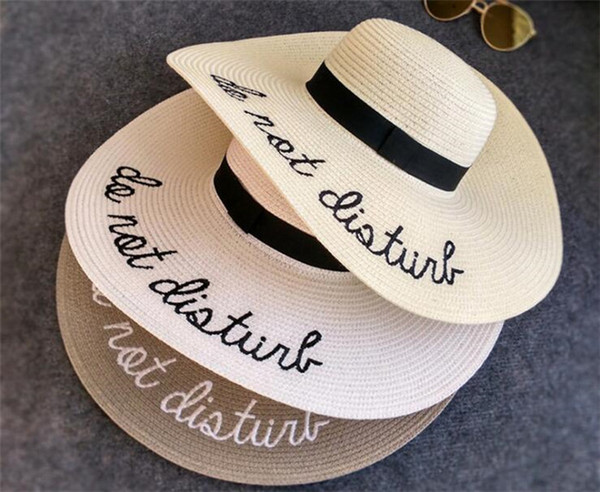 100pcs wide Brim sun hats for women Letter Embroidery straw Hats girls Do Not Disturb Ladies Straw hats lady sun hat R023