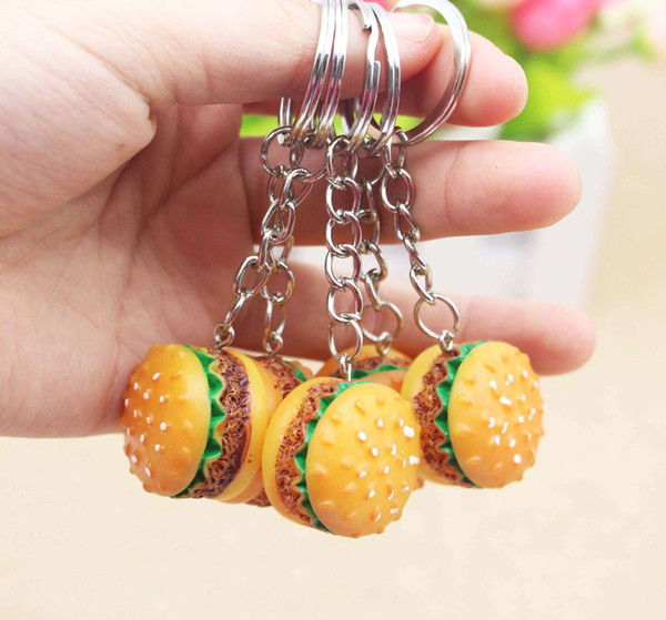 Personalized resin simulation food hamburger key button promotion small gift pendant wholesale activities All kinds of small gifts