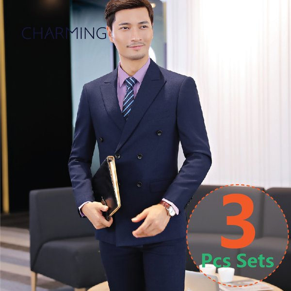 men suits guns collar (suit + vest + pants) high quality fabric Groom dress mens designer suits mens 3 piece suits