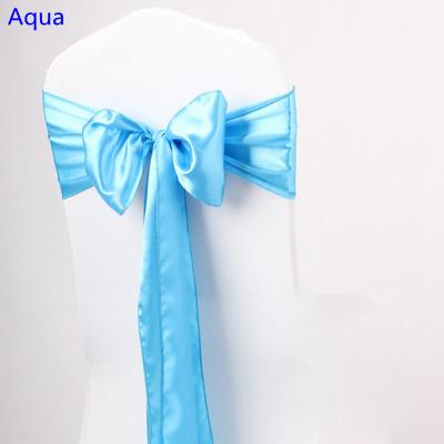 Aqua colour satin sash chair high quality bow tie for chair covers sash party wedding hotel banquet home decoration wholesale